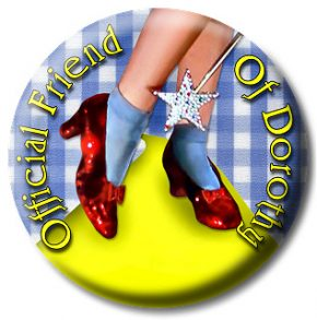 """Friend of Dorothy"" buttons and T-shirts are now easy to find for sale online. Button image by Steve Waters - Friend of Dorothy"
