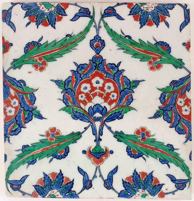 Ottoman period tile, circa 1525. Photo courtesy of Charles Lang Freer Endowment