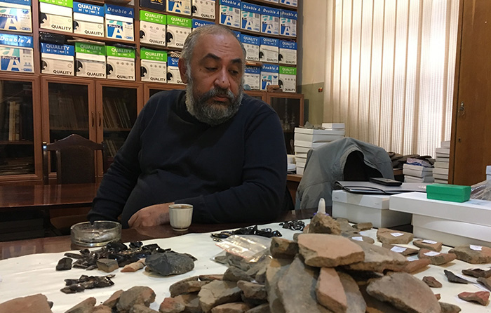 Boris Gasparyan, researcher at the Institute of Archaeology and Ethnography, led the excavations of Areni-1. Photo by Karine Vann, Smithsonian.