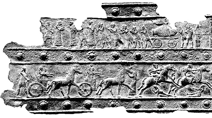 When kingdoms were plundered, large karases were carried on carts pulled by war prisoners. This is depicted in ancient bronze carvings on the doors of Balavat in Urartu. Photo courtesy of the Institute of Archaeology and Ethnography in Armenia's National Academy of Sciences