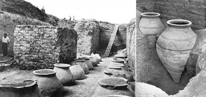 The citadel of Karmir Blour, an Urartian fortress which contains hundreds of karases, half buried into the ground as per best-practice winemaking techniques of the time. Photos from Karmir Blour excavations from 1950s