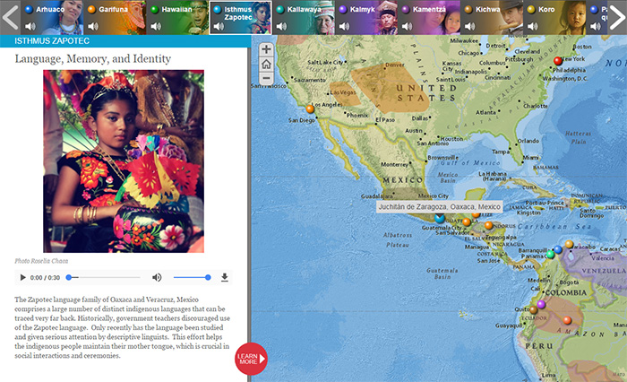The One World, Many Voices map lets users hear examples of endangered languages.