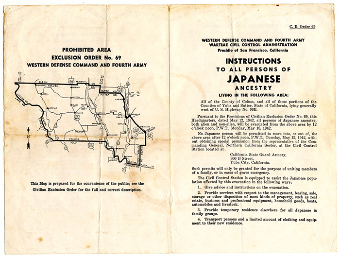 This civilian exclusion order was posted for communities in Yuba City, northeast of San Francisco, instructing them of their removal from the area on May 12, 1942. Robert Fuchigami Collection, Smithsonian's National Museum of American History